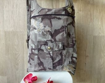 Backpack embroidered military pants
