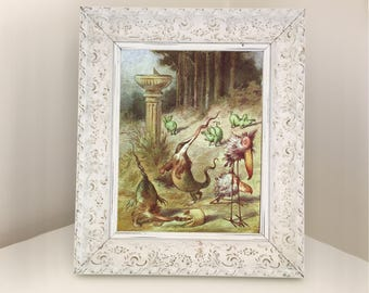 Twas Brillig and the Slithy Toves. Illustration from vintage book for framing. Alice Through the Looking Glass. Surreal Unusual Picture Gift