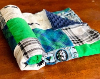 Adventure Flannel and Minky Patch Blanket