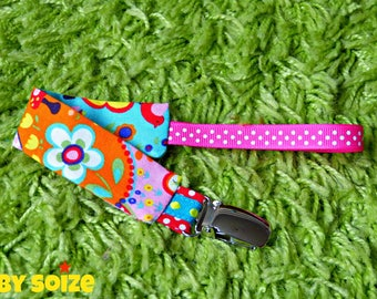 Pacifier clip fabric colorful garden pattern