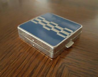 Art Deco Volupte Compact Blue Enamel Makeup Compact