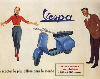 VINTAGE PLACEMAT, WASHABLE AND DURABLE - VESPA SCOOTER ADVERTISING POSTER.