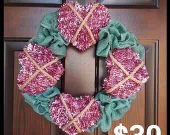 Valentine's Day Teal Wreath