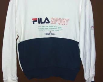 Rare!! Fila Sport Biella Italia Sweatshirt Multi Colour