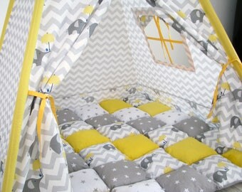 Wonderful yellow teepee with grey elephants and stars (FULL SET+bonbon blanket)