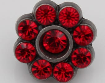 amazing dark silver and crystal red shank-metal-button 11mm (6 pieces)