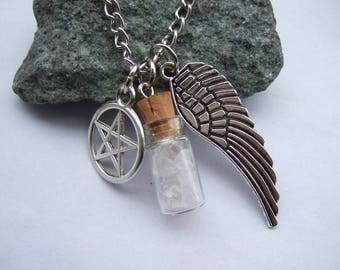 Holy Protection Angel Wing Pentagram Salt Bottle Necklace Cosplay Anime Costume Gift Gothic Punk High Quality