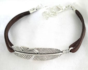 Handmade silver feather suede effect ❤ unique Brown Leather Bracelet