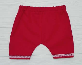 Baby girl red lace bloomers.