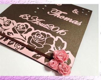 Wedding invitation wedding romantic - flower, pink and chocolate