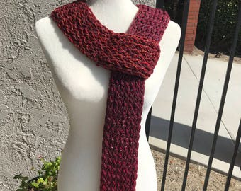 Handmade Knitted Scarf w/loop - Item #2007