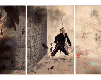 The bravery of Onoguchi Tokuji (Mizuno Toshikata) N.1 triptych of ukiyo-e woodblock prints