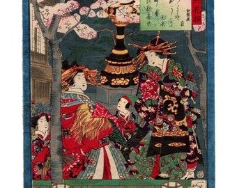 Oiran and sakura (Utagawa Yoshiiku) N.1 ukiyo-e woodblock print