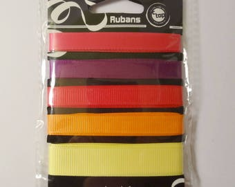 5 colorful matching ribbons - scrapbooking - sewing - embellishment