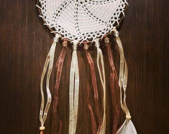 Dream catcher with lace and feathers cord