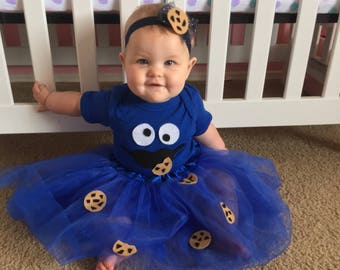 Baby cookie monster costume, Baby Halloween costume, Baby birthday costume girl