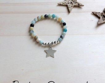 Bracelet a perles amazonite /étoile en argent 925
