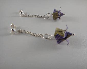 Earrings in purple and olive green origami flower