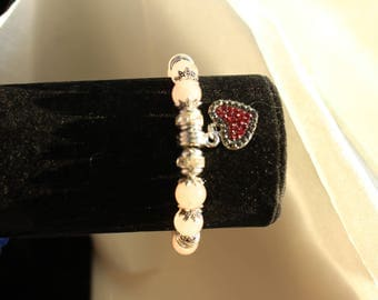 pink quartz bracelet symbol of love and Tibetan silver