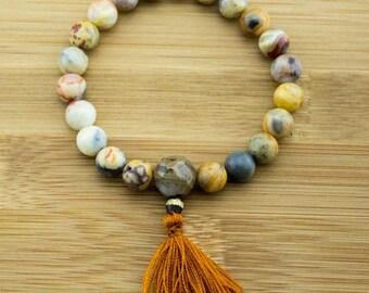 Crazy Lace Agate Mala Bracelet with Antique Glass | 8mm | Yoga Jewelry | Meditation Bracelet | Buddhist Mala Bracelet | Free Shipping