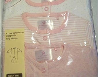 Set of 4 Pajamas onesies pink and white long sleeve