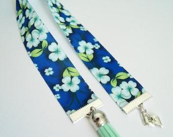 Bookmark Ribbon - blue flowers
