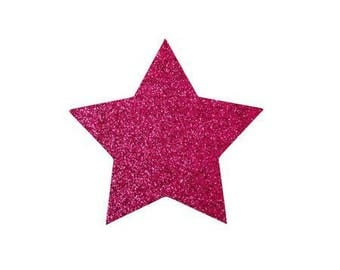 5 X 4.8 cm hot pink glittery star fusible pattern