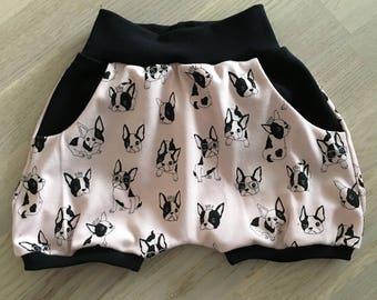 Bloomer size EU 104, pugs, child, toddler, barneklær,jente, girl, pink, hund, dog, shorts,