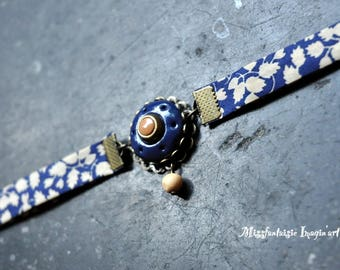 "Bracelet polymer and Liberty ""Madame"" Navy Blue"