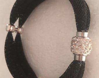 Double black bracelet with black rhinestones