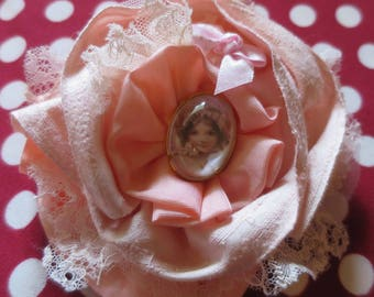 """Brooch wedding or Shabby Chic ceremony """"ROSINA"""" silk and lace Rose Poudree"""