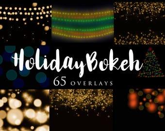 65 Holiday Bokeh Overlays, Christmas Lights, Overlays, Professional Photographer, Editing tool, Photoshop
