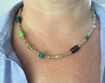 Green and gold mismatch beaded necklace