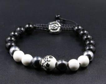 "Bracelet ""ink"" adjustable women white black onyx howlite hematite ceramic flower ceramic jewelry natural stone gemstone bead"