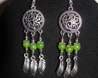 Feathers and green way Antigorites, dream catcher earrings