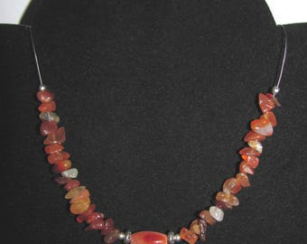 """Carnelian wire"" twisted wire necklace"
