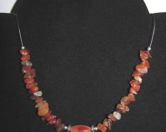 """Carnelian wire"" twisted wire necklace"