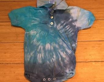 Handmade Collared Blue Tie Dye Baby Onesie