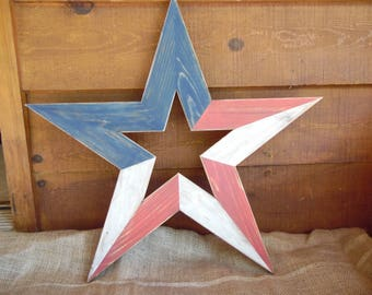 Rustic wood star/ Barn star/ Red white blue star/ Rustic home decor/ Wood star decor