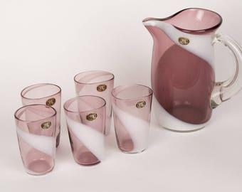 Vintage FTG Fukuoka Japan Purple Pitcher and 5 Glasses