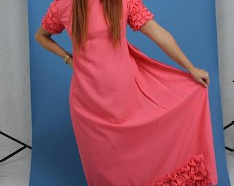 vintage pink ruffle dress size s