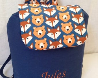 TO order Navy Blue backpack and Fox/bear pattern