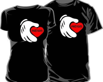 Set of 2 T-shirts for those who love to customize: heart and hand (2nd version)