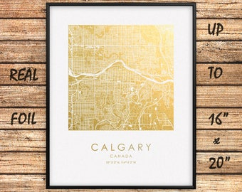 """Calgary City 16""""x20"""" Map Gold Print, Real Gold Foil Print, Calgary City Map Poster, Calgary Square Map, Calgary Gift, Canada, GoldenGraphy"""