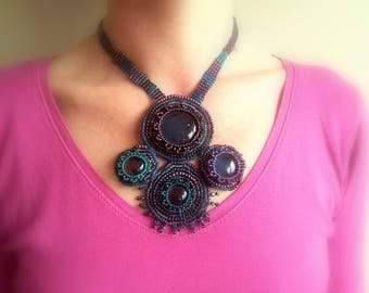 Necklace woven purple and teal