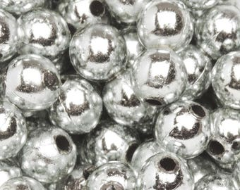 10 6mm - silver colored plastic beads
