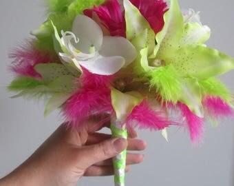 Feathers fuchsia white green bridal bouquet