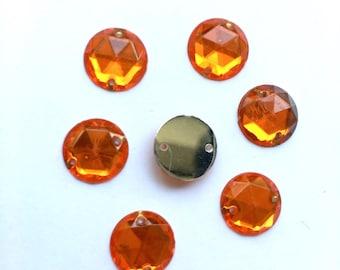10 Orange rhinestone round sewing 11 mm resin (42 (B)