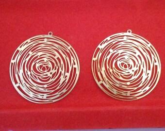 Prints 2 pendants 4 cm copper colored brass filigrees