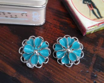 VINTAGE clip EARRINGS, flower color TIFFANY, ' 70